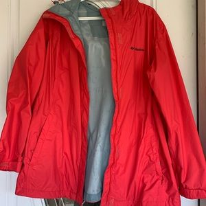 Coral Columbia rain jacket